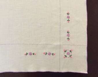 Pink & Purple Flower Embroidered Tablecloth with Four (4) Napkins, Square Linen Tea Set