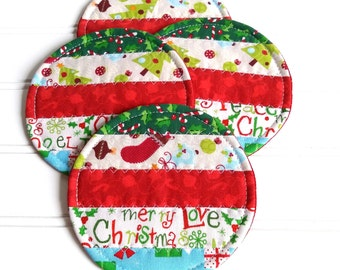 Fabric Coaster Set, Christmas Mug Rugs, Quilted Coasters, Green Red White Blue