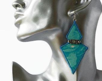 boho statement silk earrings, festival earrings, upcycled jewellery, diamonte, textile jewellery, hippie earrings, blue, diamond earrings