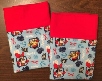 Jake and the Pirates pillow case set made with100% cotton flannel Standard size available bright red cuff