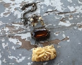 RESERVED (N) Flower Pendant Necklace Vintage Repurposed Upcycled Recycled Amber Jewelry