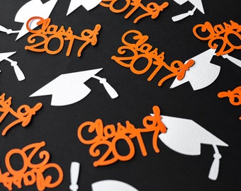 50 Class of 2017 & Graduation Cap Confetti for Graduation Party 1 1/2 inches  -- 50 pieces