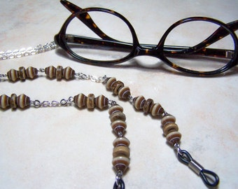 Brown Resin and Coconut Beaded, Chain for Glasses, 26 Inches, On a Silver Chain