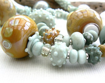 Sea and Sand Hollow Bead Necklace,Lampwork and Sterling Silver Necklace,OOAK