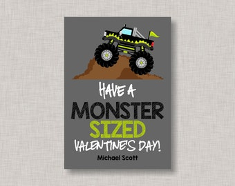 Valentine Classroom Cards,Monster Truck Valentine Card,Classroom Valentine Card,Valentine's Day,Monster Truck Valentine,Kids Valentine Cards