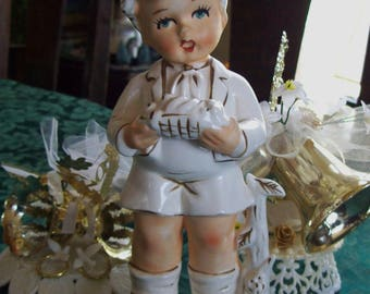 boy figurine, vintage child figurine, handpainted figurine, made in Japan