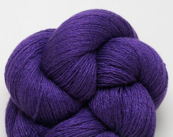 Purple Silk Cashmere Lace Weight Recycled Yarn