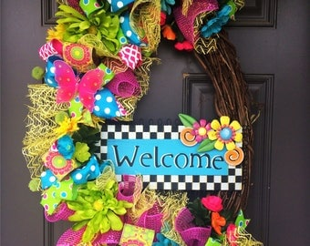 Welcome Whimsical Summer Wreath