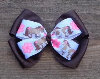 Boutique Horse Hair Bow~Horse Hair Bow~Pink Horse Bow~Brown Horse Boutique Hair Bow~4-H Hair Bow~Large Boutqiue Bow~Basic Hair Bow