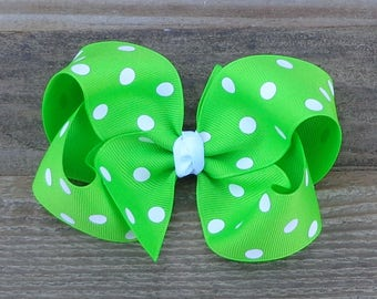 Easter Hair Bow~Bright Green/Lyple Polka Dot Hair Bow~Large Boutique Hair Bow~Simple Hairbow~Basic Hair Bow~Large Hair Bow~Boutique Hair Bow