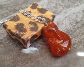 Fox Necklace - Carved Natural Agate Fox Pendant on Antique Bronze or Silver Plated Chain - Gemstone Fox Jewelry, Unisex