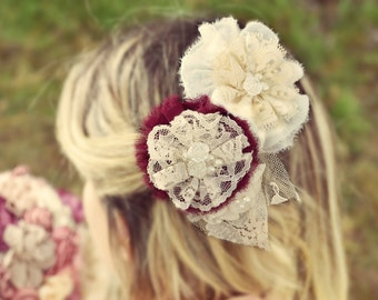 wine lace hair brooch, ivory hair brooch, bridal hair pin, flower hair brooch, wedding hair piece