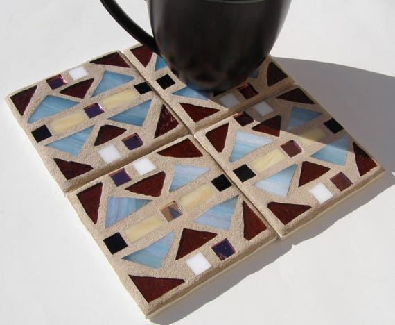 Blue Brown Mission Style Mosaic Glass Coasters Southwest Style Unisex Rustic Decor Barware Drinkware