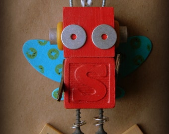 Robot Ornament - Bug Bot (Red) - S Bot - Upcycled Ornament - Hanging Decor by Jen Hardwick