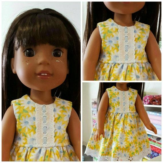 14.5 Inch Doll Dress Yellow Flowers. Wisher