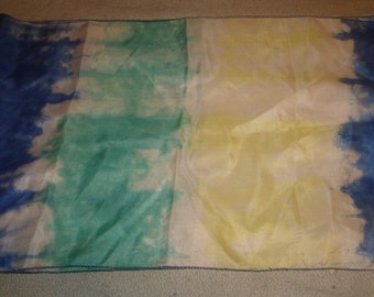 vintage ladies head neck scarf blue yellow green fading oblong