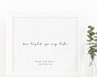 Valentines Day Gift. Wedding Vows Keepsake Print for Newlyweds & Anniversaries - You Light Up My Life