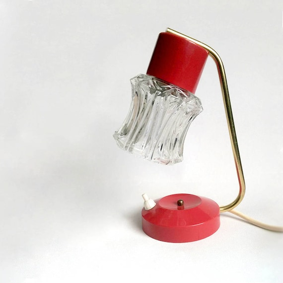 1960s red small bedside table lamp clear ice glass shade for Glass bedside lamp shades