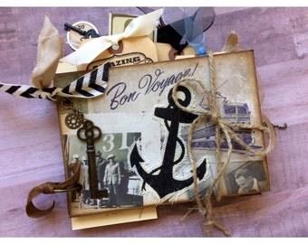 Bon Voyage Travel Scrapbook Mini Album Smash Book Junk Journal