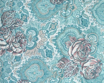 Aqua Rose Challis Fabric, by Arthur R. List Textiles, Polyester/Rayon, 1 yard cut