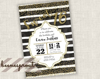 Sweet 16 Sixteen Black and Gold Stripe Birthday Invitation