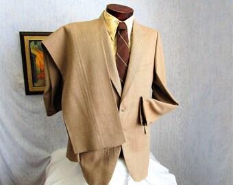 70s 44L Herringbone Tweed Wool Men's Suit Bell Bottoms Pants Beige Heritage