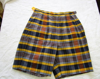 "60s 24"" XS DEADSTOCK High Waisted Shorts Navy Mustard Yellow Plaid Cotton"