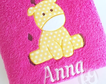 Personalized Kids Towel - Embroidered Kids Towel - Animal-themed Towel - Personalized Birthday Gift for Kids - Personalized Newborn Gift