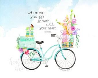 Bike Art - Watercolor Print