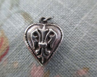 vintage sterling silver heart charm - 30s, floral, puffy heart