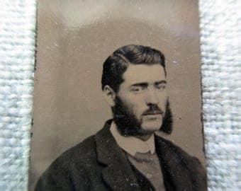 antique miniature gem tintype photo - 1800s, man with beard, rosy cheeks