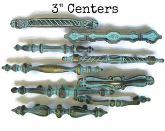 "CLEARANCE Lot of 9 vintage drawer pulls - All with 3"" centers - All different - Distressed Turquoise - Eclectic Collection"