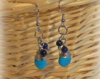 Wire Wrapped Turquoise Bead Earrings