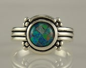 R891- Sterling Silver Mosaic Opal Ring- One of a Kind