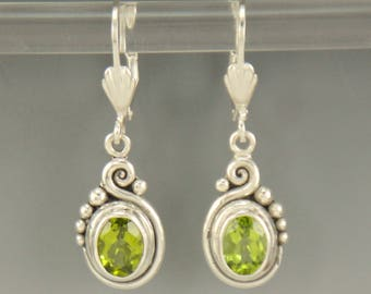 ER560- Sterling Silver Peridot Earrings- One of a Kind
