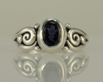 R1092- Sterling Silver Iolite Ring- One of a Kind