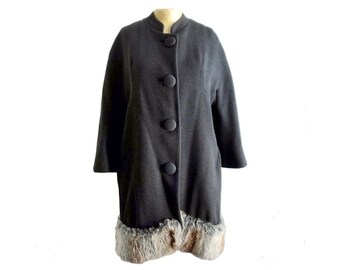 1960s Wool Mod Cocoon Coat with Fur
