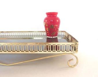 Mid Century Dresser Vanity Tray Smoke Glass Rectangular Gold Handled Footed Frame