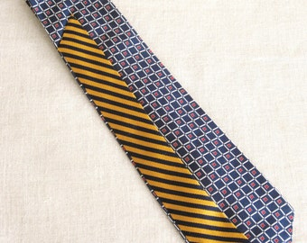 Vintage Silk Tie, Stripped, Stripes, Mens Ties, Ralph Lauren, Hand Embroidered, Navy, Gold, Upcycled,Wil Shepherd,Mans Tie, Neck Wear,Preppy