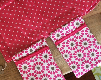 Diaper Changing Pad - Diapering on the Go - Pink with White Polka Dots
