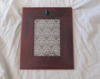 Black & Burgundy Gothic Bat Wall 5X7 Picture  Frame