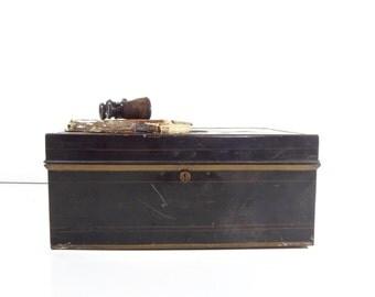 Vintage Metal Lock Box / Large Metal Bank Box / Industrial Storage