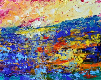 "Original Abstract Landscape Oil Painting- ""Dawn Marsh ""- by Claire McElveen"
