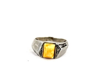 Sterling Silver Art Deco Butterscotch Amber Ring c.1910