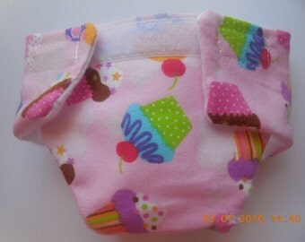 Ready to Ship SIZE #2 cloth Doll Diaper pink cupcakes adjusts washable fits bitty baby some baby alive all gone American Girl doll & more