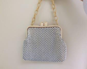 Whiting and David Metal Mesh Hand Bag Bakelite Chain Handle