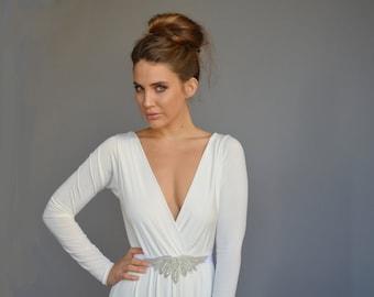 V neck wedding dress etsy simple wedding dress v neck wedding dress long sleeves wedding dress open back junglespirit Images