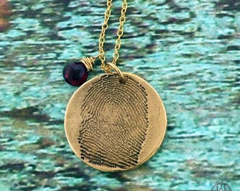 FINGERPRINT Bronze and 14k gold filled necklace made from JPEG fingerprint image, Custom handwriting/signature