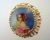 Vintage 14K Painted Portrait, Miniature Cameo Pendant Brooch / Clear Enameled Or Curved Glass / FREE US Shipping