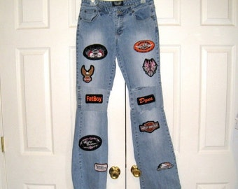 Ladies Vintage Angels Low Rise Stretch Flared Jeans, 15 Harley Davidson Patches / 30 X 34 / Distressed, Destroyed / Free US Shipping